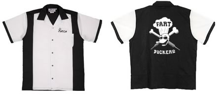 Fart Duckers Logo on Black and White Retro Bowling Shirt from BowlingShirt.com