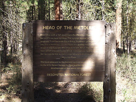 Head of the Metolius Sign