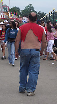 No, I'm not going back to the Iowa State Fair. But I bet this guy's attire is a lot cheaper than renting a tux.