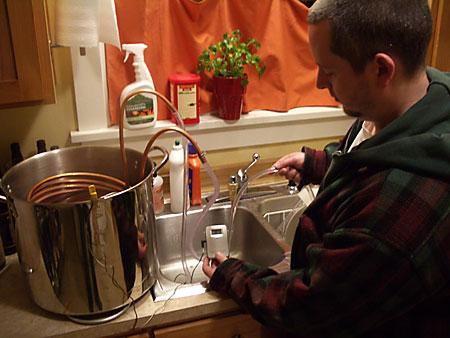 Dan Witnessing the Wort Cooler in Action
