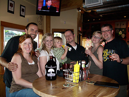 The BS Brewing Crew at Laurelwood's New Location: Bruce, Eryn, Dan, Emily, Will, Sarah and Dave