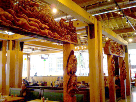 Woodcarvings and open space in the new Deschutes location in Portland