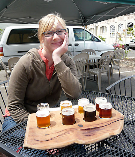 Taster Tray at Fort George Brewing Company