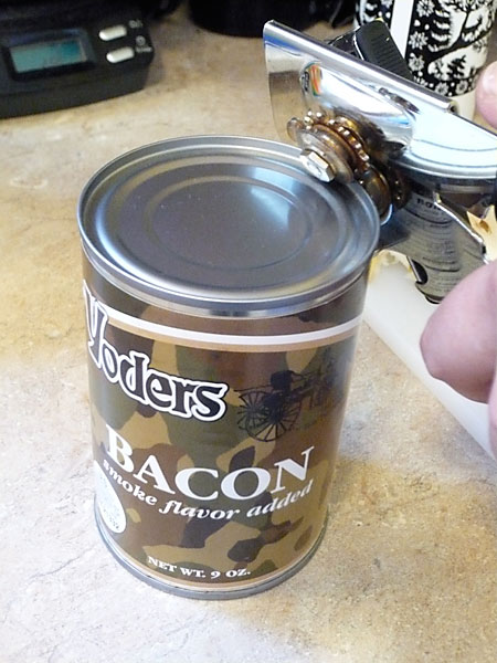 Opening a Can of Yoder's Canned Bacon