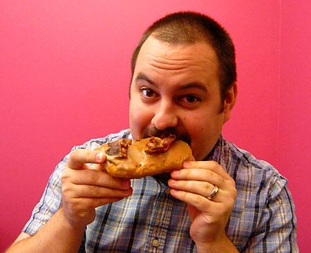 Scott Eating Bacon Doughnut