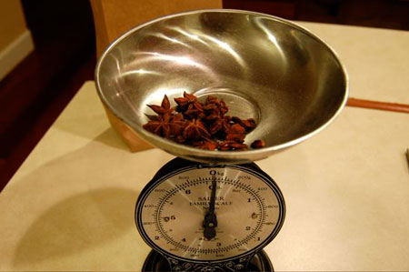 Weighing Star Anise for Root Beer