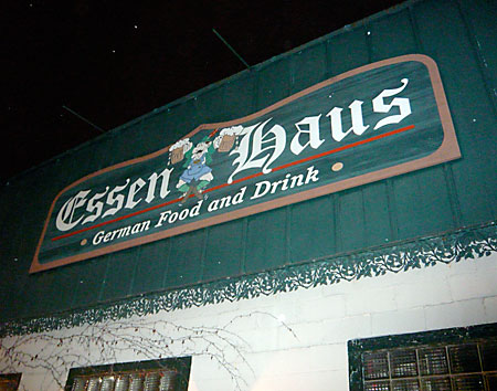 Sign outside Madison's Essen Haus